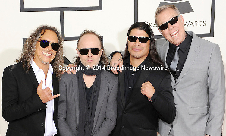 Pictured: Metallica<br /> Mandatory Credit &copy; Adhemar Sburlati/Broadimage<br /> The Grammy Awards  2014 - Arrivals<br /> <br /> 1/26/14, Los Angeles, California, United States of America<br /> <br /> Broadimage Newswire<br /> Los Angeles 1+  (310) 301-1027<br /> New York      1+  (646) 827-9134<br /> sales@broadimage.com<br /> http://www.broadimage.com