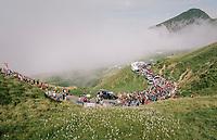 peloton up the last climb of the 2018 Tour: the Col d'Aubisque (HC/1709m/16.6km@4.9%)<br /> <br /> Stage 19: Lourdes > Laruns (200km)<br /> <br /> 105th Tour de France 2018<br /> ©kramon