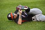 Ichiro Suzuki (Marlins),<br /> SEPTEMBER 14, 2015 - MLB :<br /> Ichiro Suzuki of the Miami Marlins stretches before the Major League Baseball game against the New York Mets at Citi Field in Flushing, New York, United States. (Photo by Hiroaki Yamaguchi/AFLO)