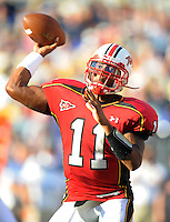 QB Jamarr Robinson of the Terrapins passes the ball. Maryland defeated Navy 17-14 at the M&T Bank in Baltimore, MD on Monday, September 6, 2010. Alan P. Santos/DC Sports Box
