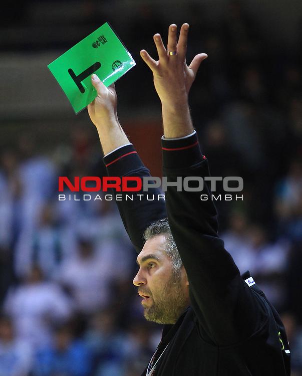 18.01.2012., Millennium Hall, Vrsac, Srbija - 10th men's european handball championship, group D, Slovenia - Croatia. Bojan Cotar. <br /> <br /> Foto &copy;  nph / PIXSELL / Antonio Bronic