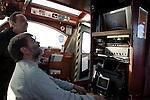 MV Dunter III, The Noss Boat, Shetland islands, Scotland, skipper operating submarine camera display