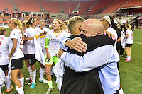 Houston, TX - Sunday Oct. 09, 2016: Lianne Sanderson, Paul Riley, celebrates after the National Women's Soccer League (NWSL) Championship match between the Washington Spirit and the Western New York Flash at BBVA Compass Stadium. The Western New York Flash win 3-2 on penalty kicks after playing to a 2-2 tie.