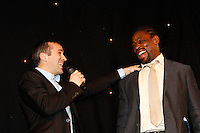 Photo: Richard Lane/Richard Lane Photography. .Serge Betsen Testimonial Dinner at the Hilton on Park Lane. 25/02/2011. Serge Betsen , Thomas Castaignede..