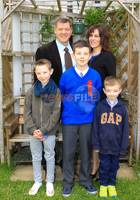 Thomas and Niamh Vainiomattila with Brian, Liam and Colum during Confirmation at St. Joseph's Church in Mell, Drogheda on Monday 11th May 2015.<br /> Picture:  Thos Caffrey / www.newsfile.ie