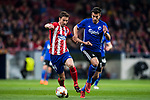 Gabriel Fernandez Arenas, Gabi (L), of Atletico de Madrid fights for the ball with Andrija Pavlovic of FC Copenhague during the UEFA Europa League 2017-18 Round of 32 (2nd leg) match between Atletico de Madrid and FC Copenhague at Wanda Metropolitano  on February 22 2018 in Madrid, Spain. Photo by Diego Souto / Power Sport Images