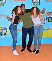 SANTA MONICA, USA. July 11, 2019: Michael Strahan, Isabella Strahan & Sophia Strahan at Nickelodeon's Kids' Choice Sports Awards 2019 at Barker Hangar.<br /> Picture: Paul Smith/Featureflash