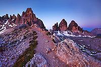 Mountain impression Paternkofel and Tre Cime - Europe, Italy, South Tyrol, Sexten Dolomites, Tre Cime - Dawn - July 2009 - Mission Dolomites Tre Cime