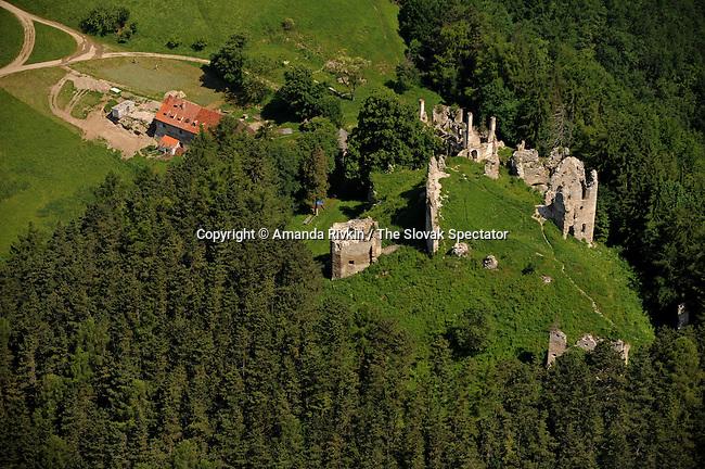 An aerial view of the Sklabinsky Castle is seen in Sklabina, Slovakia on June 12, 2010.
