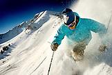 USA, Utah, young man skiing Lee's Tree, Alta Ski Resort