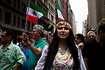 People attend the Persian day parade in Manhattan, New York