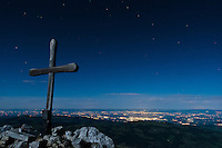 View from the Kaiseregg's top (2185m) with Freiburg city lights