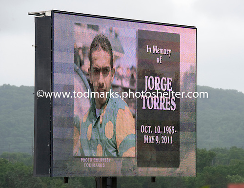 Moment of silence for fallen jockey Jorge Torres.