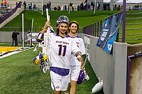 Seniors Justin Reh (#11) and Kyle McClancy (#40) celebrate the victory in their last home game as UAlbany Men's Lacrosse defeats Richmond 18-9 on May 12 at Casey Stadium in the NCAA tournament first round.