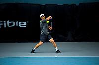 Men's singles final between Finn Tearney (pictured) and Ajeet Rai. 2019 Wellington Tennis Open finals at Renouf Centre in Wellington, New Zealand on Sunday, 22 December 2019. Photo: Dave Lintott / lintottphoto.co.nz