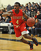 Troy Goode #4 of Center Moriches looks to get to the hoop during a Suffolk County League VII varsity boys basketball game against host Babylon High School on Friday, Jan. 26, 2018. Center Moriches won by a score of 84-80.