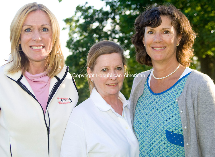 WATERBURY, CT - 07 JUNE 2010 -060710JT24-<br /> From left, Laurie St. John, board member of the Saint Mary's Hospital Foundation, with event committee members Colleen Genovese and Liz Widman during an evening reception in support of the Mammography Fund at Saint Mary's Hospital on Monday at the Waterbury Country Club. The reception followed the 3rd annual Dorothy Hamill Women Fore Women golf tournament. The Mammography Fund provides free mammograms to hundreds of area women who would otherwise not have access to them. <br /> Josalee Thrift Republican-American