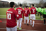 Turkiyemspor Berlin 3 BSC Rehberge 0, 22/11/2015. Willy-Kressmann-Stadion, Berlin Landesliga. Players of Turkiyemspor Berlin making their way onto the pitch at the club's ground the Willy-Kressmann-Stadion before they played BSC Rehberge in a Berlin Landesliga fixture which they won 3-0. The club was formed in 1978 to represent members of Berlin's large Turkish community and achieved several promotions and local cup wins throughout the first 15 years of their existence. Since then, financial problems have led to successive relegations and they now find themselves in the city's second division. Photo by Colin McPherson.