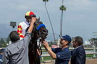 ARCADIA, CA  APRIL 7:  #3 Heck Yeah, ridden by Mike Smith, gets a sponge down after winning the Echo Eddie Stakes on April 7, 2018 at Santa Anita Park Arcadia, CA. (Photo by Casey Phillips/ Eclipse Sportswire/ Getty Images)