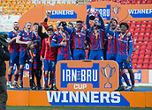 24th March 2018, McDiarmid Park, Perth, Scotland; Scottish Football Challenge Cup Final, Dumbarton versus Inverness Caledonian Thistle; Inverness Caledonian Thistle captain Gary Warren lifts the Irn Bru Cup