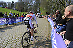 Lasse Norman Hansen (DEN) Corendon-Circus on the the first ascent of the Kemmelberg during the 2019 Gent-Wevelgem in Flanders Fields running 252km from Deinze to Wevelgem, Belgium. 31st March 2019.<br /> Picture: Eoin Clarke | Cyclefile<br /> <br /> All photos usage must carry mandatory copyright credit (© Cyclefile | Eoin Clarke)