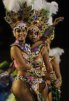 Samba dancers perform at the Sambadrome during the samba school parade, Rio de Janeiro, Brazil, February 28. 2014. (Austral Foto/Renzo Gostoli)