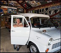 BNPS.co.uk (01202 558833)Pic: PhilYeomans/BNPS<br /> <br /> Transit-Man-Cave.<br /> <br /> Transit-man Peter Lee - Lifetime's collection of anything related to Britains favourite van.<br /> <br /> White van Super-Man - When it comes to motoring collections there are no shortage of impressive Ferrari and Aston Martin ensembles, but one enthusiast is laying claim to a rather different collection.<br /> <br /> Peter Lee, 68, believes he has the world's biggest Ford Transit collection and is the proud owner of over 22,000 items relating to the world's most famous van.<br /> <br /> Included among that are nine pristine vehicles that he regularly uses himself at various shows and events.<br /> <br /> He says he has no idea how much he's spent assembling the impressive collection but it is thought to be in the hundreds of thousands of pounds.