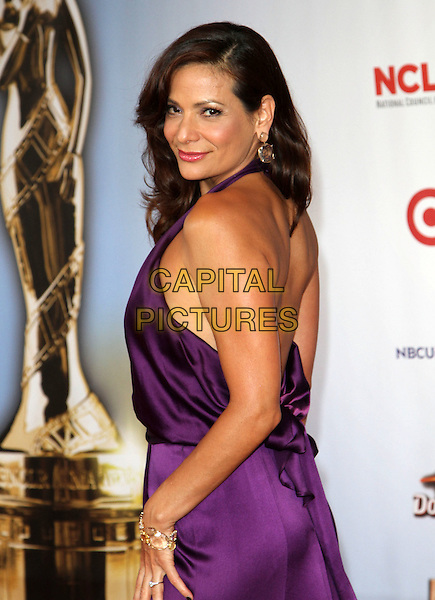 Constance Marie.2011 NCLR ALMA Awards Held at The Santa Monica Civic Auditorium, Santa Monica, California, USA,.10th September 2011 .half length purple dress halterneck side back over shoulder .CAP/ADM/KB.©Kevan Brooks/AdMedia/Capital Pictures.