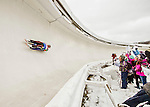 4 December 2015: Pavel Angelov, sliding for Bulgaria, enters a curve during his first run of the Viessmann Luge World Cup at the Olympic Sports Track in Lake Placid, New York, USA. Mandatory Credit: Ed Wolfstein Photo *** RAW (NEF) Image File Available ***