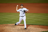 Lakeland Flying Tigers starting pitcher Alex Faedo (13) delivers a pitch during the second game of a doubleheader against the Bradenton Marauders on April 11, 2018 at Publix Field at Joker Marchant Stadium in Lakeland, Florida.  Bradenton defeated Lakeland 1-0.  (Mike Janes/Four Seam Images)