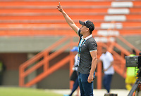 ITAGÜÍ - COLOMBIA, 07-03-2020: Giovanni Hernandez, técnico de Atletico, gesticula durante el encuentro entre Leones F.C. y Atlético F.C. por la fecha 6 del Torneo BetPlay DIMAYOR I 2020 jugado en el estadio Polideportivo Sur de Envigado. / Giovanni Hernandez, coach of Atletico, gestures during the match between Leones F.C. and Atletico F.C. between Leones F.C. and Atletico F.C. for the date 6 of the BetPlay DIMAYOR Tournament I 2020 played at Polideportivo Sur stadiim in Envigado city.  Photo: VizzorImage / Leon Monsalve / Cont
