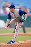 Jacksonville Suns starting pitcher T.J. Nall follows through on his delivery versus the Birmingham Barons at Hoover Metropolitan Stadium in Birmingham, AL, Saturday, August 19, 2006.
