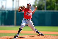 Atlanta Braves pitcher Sean Gilmartin #16 during a minor league Spring Training game against the Baltimore Orioles at Al Lang Field on March 13, 2013 in St. Petersburg, Florida.  (Mike Janes/Four Seam Images)
