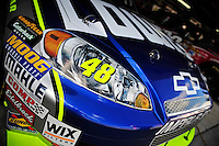 Sept. 19, 2008; Dover, DE, USA; Detail view of the front end of the car of Nascar Sprint Cup Series driver Jimmie Johnson during practice for the Camping World RV 400 at Dover International Speedway. Mandatory Credit: Mark J. Rebilas-