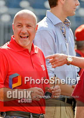 15 June 2012: Washington Nationals General Manager Mike Rizzo smiles during batting practice prior to a game against the New York Yankees at Nationals Park in Washington, DC. The Yankees defeated the Nationals 7-2 in the first game of their 3-game series. Mandatory Credit: Ed Wolfstein Photo