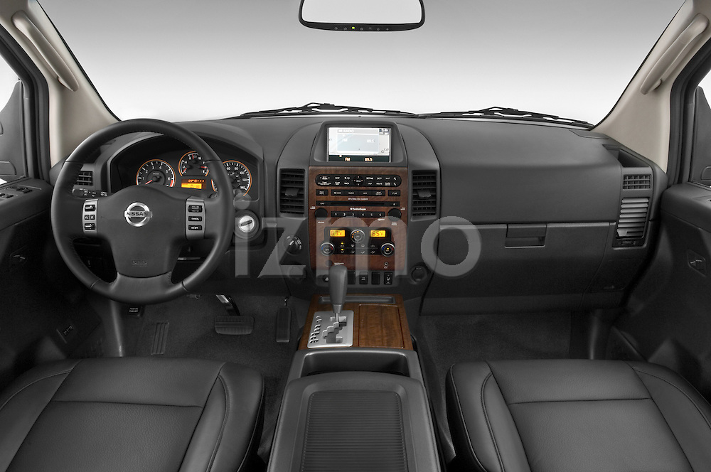 Straight dashboard view of a 2008 Nissan Titan