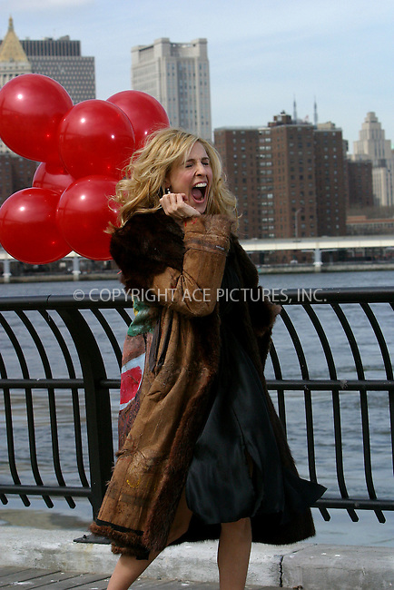 "Actress Sarah Jessica Parker filming a promotional video for HBO's hit series, ""Sex and the City."" Fulton Ferry Park, Brooklyn, March 19, 2003. Please byline: Alecsey Boldeskul/NY Photo Press.   ..*PAY-PER-USE*      ....NY Photo Press:  ..phone (646) 267-6913;   ..e-mail: info@nyphotopress.com"