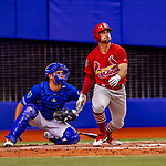 26 March 2018: St. Louis Cardinals infielder Greg Garcia in action during an exhibition game against the Toronto Blue Jays at Olympic Stadium in Montreal, Quebec, Canada. The Cardinals defeated the Blue Jays 5-3 in the first of two MLB pre-season games in the former home of the Montreal Expos. Mandatory Credit: Ed Wolfstein Photo *** RAW (NEF) Image File Available ***