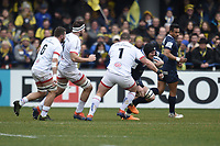 11th January 2020, Parc des Sports Marcel Michelin, Clermont-Ferrand, Auvergne-Rhône-Alpes, France; European Champions Cup Rugby Union, ASM Clermont versus Ulster;  Arthur Iturria (asm) tackled by Jack Mc Grath (ulster)