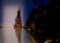Una modella presenta una creazione di Stella Jean durante la rassegna ITC's Ethical Fashion Initiative con Altaroma a Roma, 7 Luglio 2013..<br /> A model wears a creation of Stella Jean during the  ITC's Ethical Fashion Initiative and  Altaroma in Rome, 7 July 2013.<br /> UPDATE IMAGES PRESS/Virginia Farneti