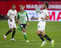 11th June 2020, Sevilla, Spain;  La Liga Spanish football league. Sevilla FC versus Real Betis. Resumption of football matches in Spain after three months postponed by the global pandemic of COVID-19. Game was played without any fans in the stadium and with  strict sanitary measures. Franco Vázquez (Sevilla FC).