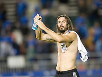 Alan Gordon of Earthquakes applauds to the fans after the game against Galaxy at Buck Shaw Stadium in Santa Clara, California on November 7th, 2012.   LA Galaxy defeated San Jose Earthquakes, 3-1.
