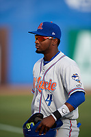 St. Lucie Mets center fielder John Mora (4) before a game against the Dunedin Blue Jays on April 19, 2017 at Florida Auto Exchange Stadium in Dunedin, Florida.  Dunedin defeated St. Lucie 9-1.  (Mike Janes/Four Seam Images)