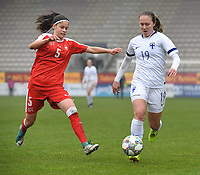 20190409  - Tubize , BELGIUM : Swiss Kattalin Stahl (R) and Finland's Tuuli Enkkila (R) pictured during the soccer match between the women under 19 teams of Switzerland and Finland , on the third matchday in group 2 of the UEFA Women Under19 Elite rounds in Tubize , Belgium. Tuesday 9 th April 2019 . PHOTO DIRK VUYLSTEKE / Sportpix.be