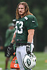 Dylan Donahue #53 watches a play during New York Jets Training Camp at the Atlantic Health Jets Training Center in Florham Park, NJ on Monday, Aug. 14, 2017.