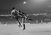 26/08/1980 Everton v Blackpool League Cup 2nd Round 1st Leg .Paul Fletcher out jumps Kevin Ratcliffe....© Phill Heywood.