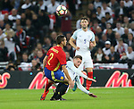 England's Jamie Vardy goes in high on Spain's Cesar Azpilicueta during the friendly match at Wembley Stadium, London. Picture date November 15th, 2016 Pic David Klein/Sportimage
