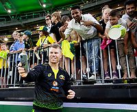 8th November 2019; Optus Stadium, Perth, Western Australia Australia; T20 Cricket, Australia versus Pakistan; David Warner of Australia takes a selfie for a fan after the match - Editorial Use
