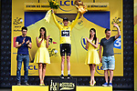 Race leader Chris Froome (GBR) Team Sky retains the Yellow Jersey at the end of Stage 8 of the 104th edition of the Tour de France 2017, running 187.5km from Dole to Station des Rousses, France. 8th July 2017.<br /> Picture: ASO/Pauline Ballet | Cyclefile<br /> <br /> <br /> All photos usage must carry mandatory copyright credit (&copy; Cyclefile | ASO/Pauline Ballet)
