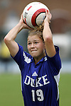 09 October 2005: Duke's Rebecca Moros. The Duke Blue Devils defeated the #1 ranked Carolina Tar Heels 2-1 at Fetzer Field in Chapel Hill, North Carolina in a regular season Atlantic Coast Conference women's soccer game.